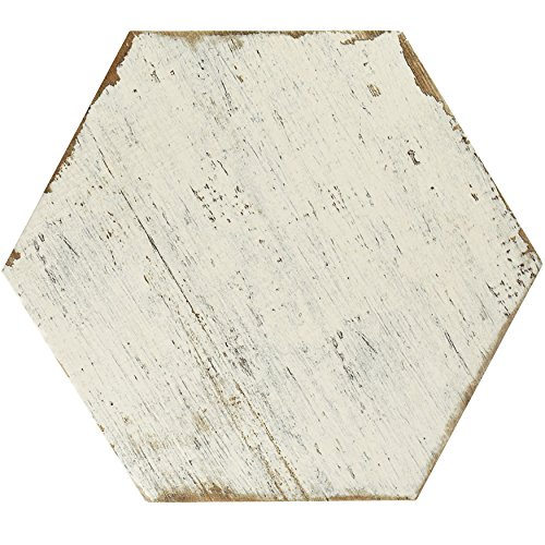 Vintage Porcelain Ceramic (SomerTile FNURTXBL Vintage Hex Porcelain Floor and Wall Tile, 14.125