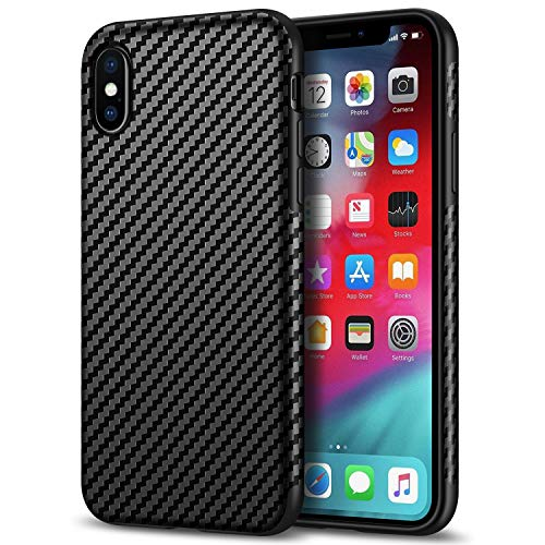 (Tasikar Compatible with iPhone Xs Max Case Good Grip Slim Carbon Fiber Leather Case for iPhone Xs Max (2018) - Black)