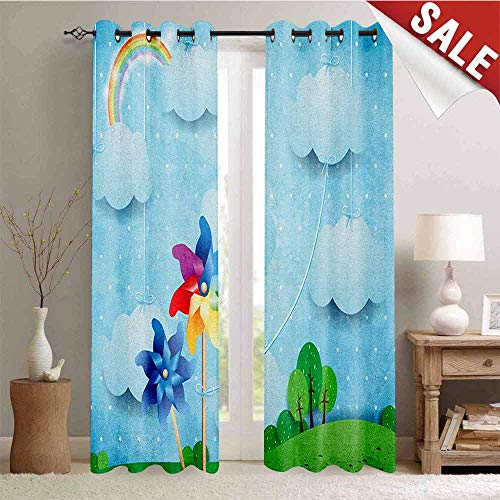 Pinwheel Decor Curtains by Surreal View with Hanging Cloud Sky Rainbow Idyllic Meadow Fantasy World Landscape Room Darkening Wide Curtains W84 x L96 Inch Multicolor