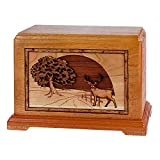 Wood Cremation Urn - Mahogany Whitetail Deer in Heartlands Hampton