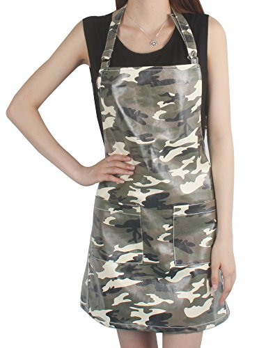 Camouflage Apron (Vantoo Unisex Waterproof Apron with Pockets for Women Men,Camouflage Green)