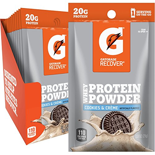 Gatorade Whey Protein Powder, Cookies & Creme (Single Serve Pouch, Pack of 12, 20 grams of protein per serving)