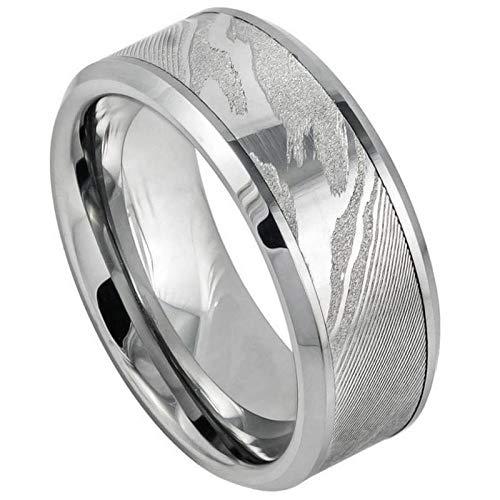 FashionBros Free Laser Engraving Wedding Band Ring Set for Him /& Her 9MM Tungsten Carbide Laser Carved Wood Grain Pattern\//Mokume Gane Effect High Polished Low Beveled Edge