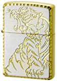 Zippo Lighter TRIBAL BEAST TIGER Silver x Gold Edge