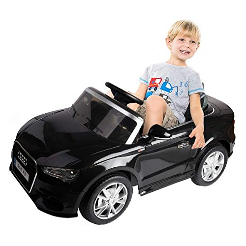 Costzon Ride On Car, Licensed Audi A3 12V 2WD Battery Powered Ride-On Toy Manual/Parental Remote Control Modes Vehicle with Headlights, MP3, Music, Adjustable Speed for Kids (Black) -