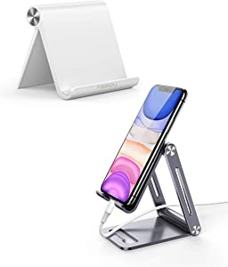 UGREEN Cell Phone Stand with Aluminum Phone Holder Bundle Compatible for iPhone 11 Pro Max SE XS XR 8 Plus 6 7 5, Samsung Galaxy S20 S10 S9 S8 S7 S6 Android Smartphone Holder Desk Adjustable Foldable