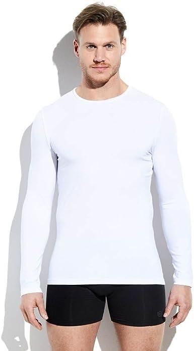 camiseta interior hombre manga larga cuello redondo color blanco algodón talla XXL: Amazon.es: Ropa y accesorios