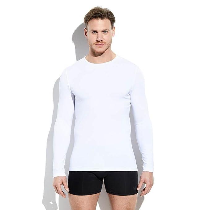 Larga Camiseta Cuello Redondo Color Interior Blanco Manga Hombre tQdxshrC