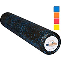 YUFENGGF USA Foam Roller, Extra Firm High Density Foam Rollers for Exercise - 36 inch Black & Blue (2.8lbs/ft³ Density…