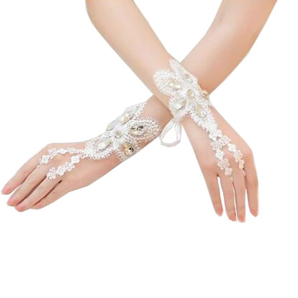 Elegant Lady Formal Banquet Party Bride Pierced Lace Wedding Gloves Bridal Gloves, NO.12