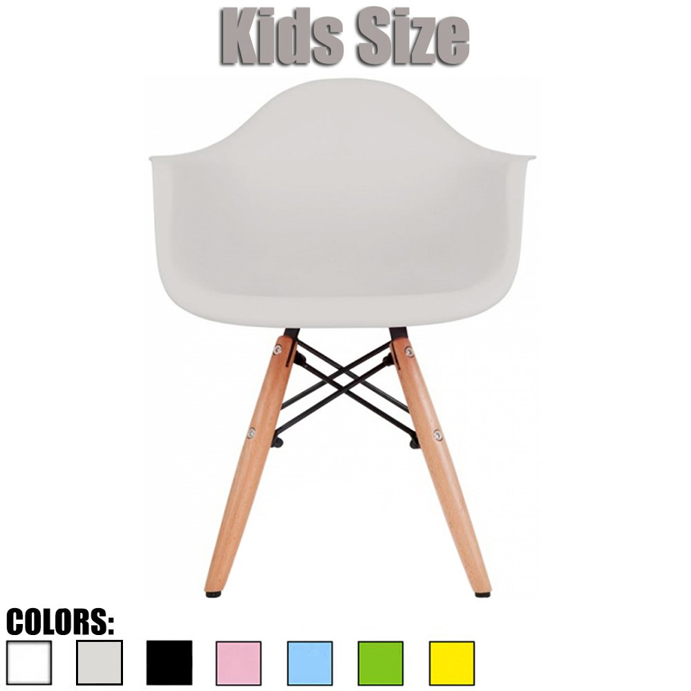 2xhome - Kids Size Eames Armchair Eames Chair White Seat Natural Wood Wooden Legs Eiffel Childrens Room Chairs Molded Plastic Seat Dowel Leg (Grey)