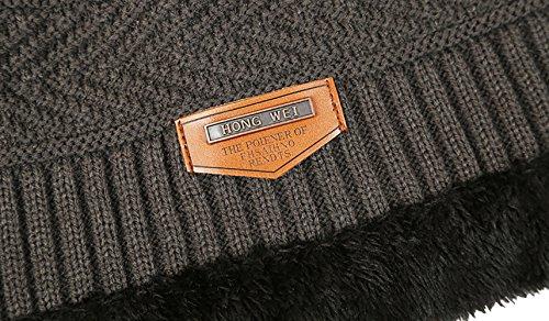 con de invierno Hombre Eleter punto Gris gorrita caliente suave sombrero pañuelo de Gorra vpTRRwq