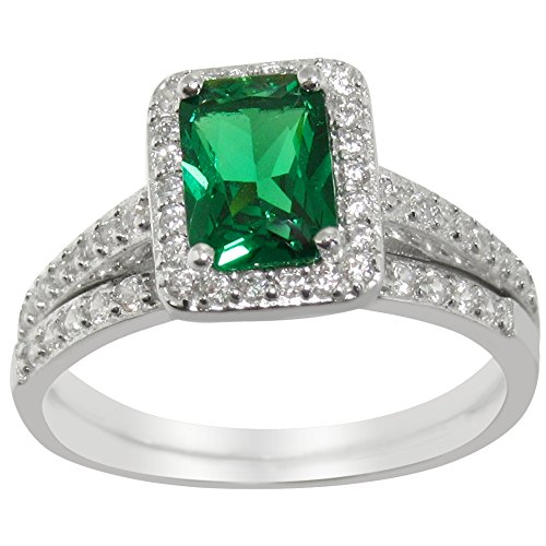 Simulated Emerald Green CZ Wedding Band Engagement Ring Set in 925 Sterling Silver (10) (Emerald 3mm Accented Ring Setting)