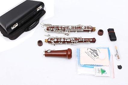 Yinfente Professional Oboe C Key Left F Resonance - Caja semiautomática de ébano y madera de palisandro + piezas de Oboe: Amazon.es: Instrumentos musicales
