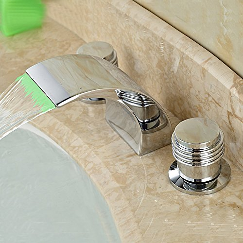 AZOS Bathroom Vanity Sink Faucet 3-Hole 2 Handles Widespr...