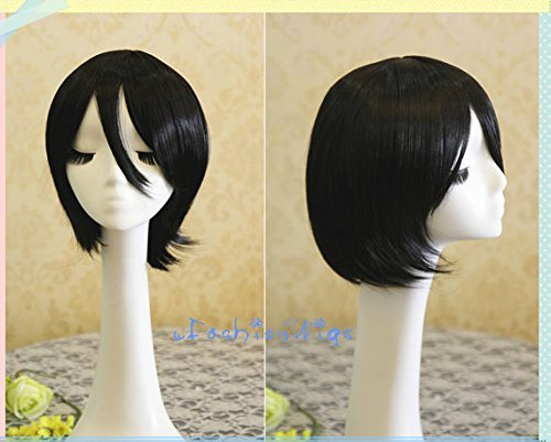 35cm Short Black Attack On Titan Mikasa Ackerman Cosplay Wig Anime Costume Wig For Party Uf078