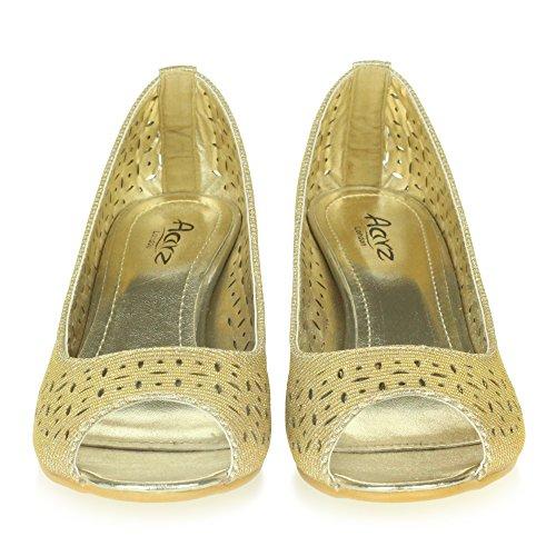 Talón De Señoras Inteligente Comodidad Peeptoe Sandalias Cuña Ponerse Tamaño Trabajo Oro Oficina Mujer Casual Zapatos qBAYnv