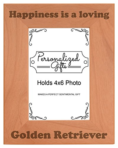 ThisWear Dog Lover Gifts for Women Happiness is a Loving Golden Retriever Rescue Dog Natural Wood Engraved 4x6 Portrait Picture Frame (Retriever Dog Portrait)