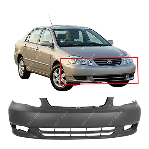 MBI AUTO – Primered, Front Bumper Cover Fascia for 2003 2004 Toyota Corolla Sedan CE LE 03 04, TO1000240