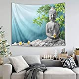 GuoEY Spa zen massage stones green bamboo leaves picture print wall hanging tapestry picnic beach sheet table cloth home accessory 150 width x 100 height cm