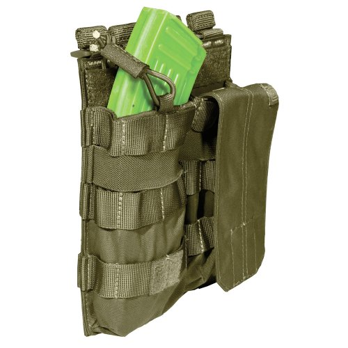 5.11 AK Bungee/Cover Double Magazine Pouch, Tactical OD - 511 Mag Pouch Double