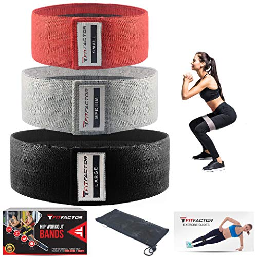 Glute Bands - Resistance Bands for Legs and Butt - Hip Loop Circle for Booty, Workout, Exercise, Fitness, Stretching, Yoga, Squat - 3 Pack Fabric Resistance Loops with Carry Bag By FitFactor
