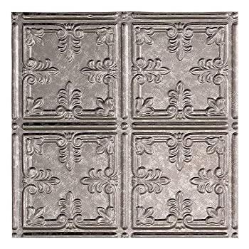 """Fasade Easy Installation Traditional 10 Galvanized Steel Glue Up Ceiling Tile / Ceiling Panel (12"""" x 12"""" Sample)"""
