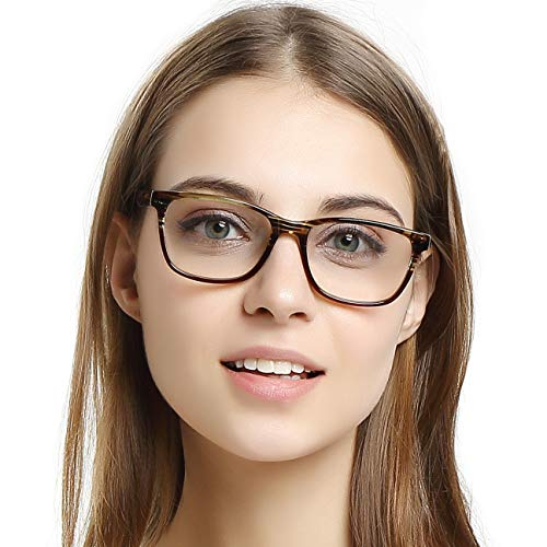 OCCI CHIARI Womens Fashion Non-Prescription Acetate Eyewear Frames with Clear Lens(Brown, 53-17-140)