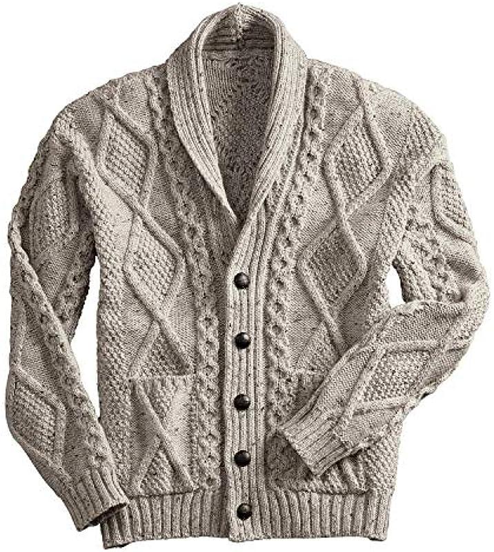 Aran-Cardigan aus 100 % Merinowolle, mit Lederknöpfen, Anthrazit - Beige - Klein: Odzież