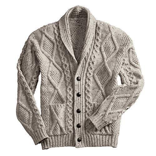 (100% Irish Merino Wool Aran Button Cardigan,Oatmeal Extra Large)