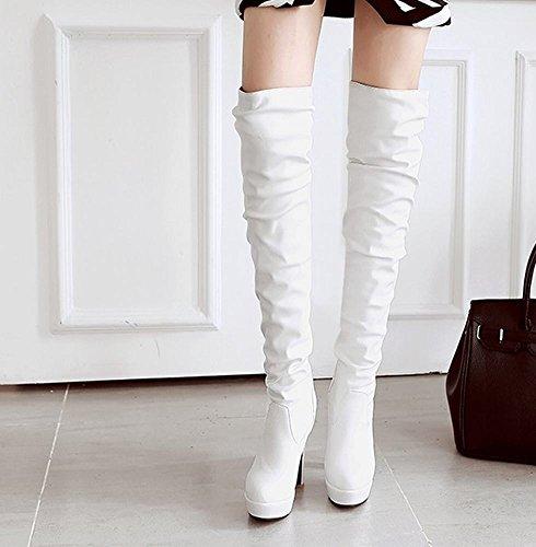 Mee Shoes Damen Reißverschluss runde Plateau high heels Stiefel Weiß