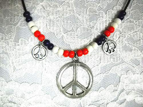 Round Peace Sign Pendant + 2 Charms RED White Blue Beads ADJ Necklace KEZ-3832