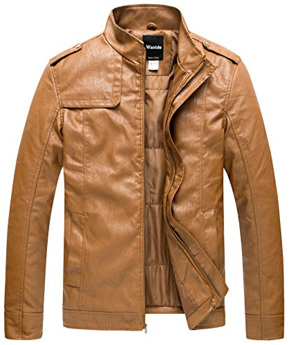 ollar PU Leather Jacket Outwear US Small Brown ()