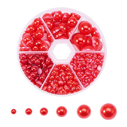 PandaHall 1Box 4-12mm About 690pcs Half Round Domed Imitation Pearl ABS Acrylic Beads Flat Back Pearl Cabochons for Craft DIY Gift Making ()