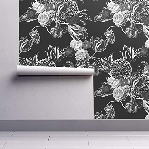 Peel-and-Stick Removable Wallpaper - Floral Vintage Home Decor Uphlstery Floral Flowers Chintz 50 S Black by Peacoquettedesigns - 24in x 96in Woven Textured Peel-and-Stick Removable Wallpaper Roll ()