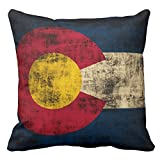 Home Decorative Pillowcase Vintage Colorado Flag State Throw Pillow Cover 16 x 16 Square Cotton Polyester Pillowcase Cushion Cover