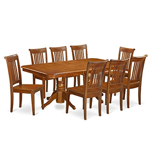 NAPO9-SBR-W 9 Pc Dining room set Table with Leaf and 8 Kitchen Dining Chairs (Nine Dining Room Piece Set)