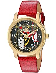 Disney Womens Alice in Wonderland Quartz Metal Watch, Color:Red (Model: W003142)