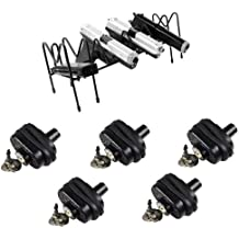 Ultimate Arms Gear 5 Pack of Secure Steel & Zinc Bodied Universal Firearm Gun Handgun Pistol Key Trigger Block Lock + Steel 8 Slot Pistol Auto Revolver Handgun Gun Storage Shelf Rack