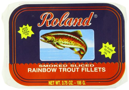 Rainbow Trout Fillets - Roland Rainbow Trout Fillets, Smoked Sliced, 3.75 Ounce