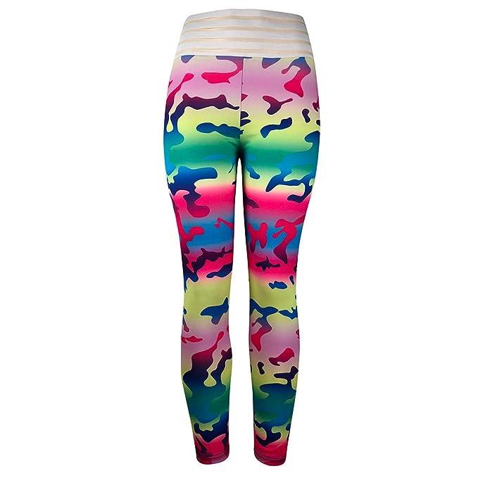 RISTHY Mallas Pantalones Deportivos Yoga Ropa de Entrenamiento Profesionales Fitness Pantalones Lápiz Largos Camuflaje Mujer Cintura Alta Push Up ...