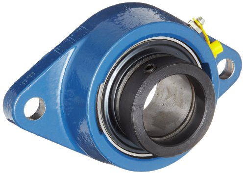 SKF FYT 1/2 FM Ball Bearing Flange Unit, 2 Bolts, Eccentric Collar, Regreasable, Contact Seal, Cast Iron, Inch, 0.5