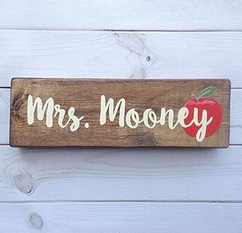 - MarthaFox Teacher Name Sign Desk Sign Teacher Gift Apple Hand Painted Wood Sign Teacher Name Plaque Classroom Decor