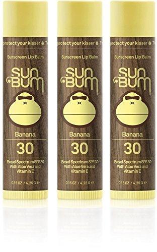 Sun Bum Lip Balm THREE PACK SPF 30+ Banana, One Size