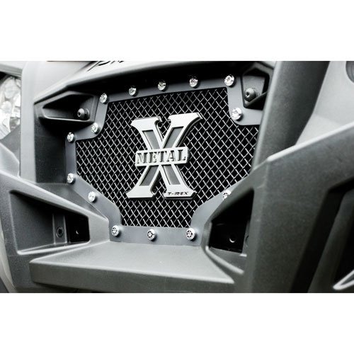 T-Rex Grilles 6719001 X-Metal Steel/Black Finish Small Formed Mesh Replacement Grille for Polaris RZR XP - Grille Mesh Heavy Metal
