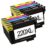 lucky time Remanufactured 10pack Epson 220 220XL High Yield ink cartridge for Epson Expression XP-320 XP-420 XP-424 & WorkForce WF-2630 WF-2650 WF-2660 WF-2750 WF-2760 Printer