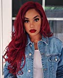 AISI HAIR Wavy Side Part Heat Resistant Wig Cosplay Long Curly Red Hair for Black Women Natural Looking Fiber Wig
