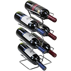 Sorbus 3-Tier Stackable Wine Rack - Classic Style Wine Racks for Bottles - Perfect for Bar, Wine Cellar, Basement, Cabinet, Pantry, etc - Hold 12 Bottles, Metal (Wine Tree - Silver)