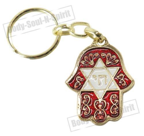 Chai & Star Of David Red HAMSA Israel Jewish Kabbalah Protection Key Ring Chain