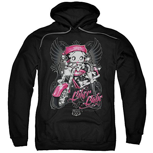 Betty Boop Cartoon Pink Motorcycle Biker Babe Adult Pull-Over - Sweatshirt Babe